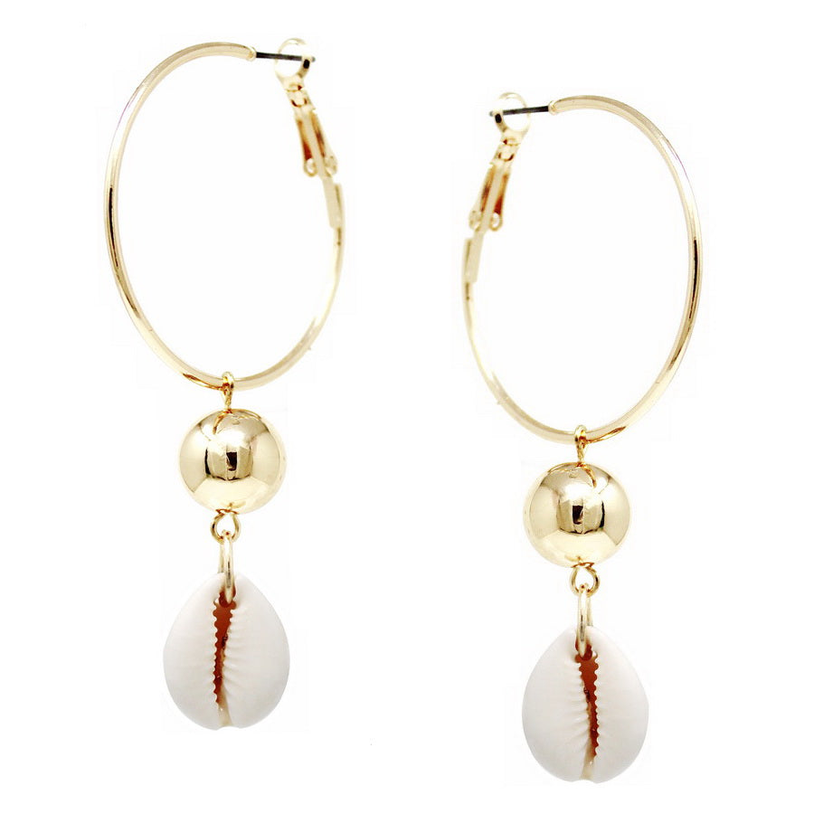 Metal Ball And Puka Shell Hoop Earrings
