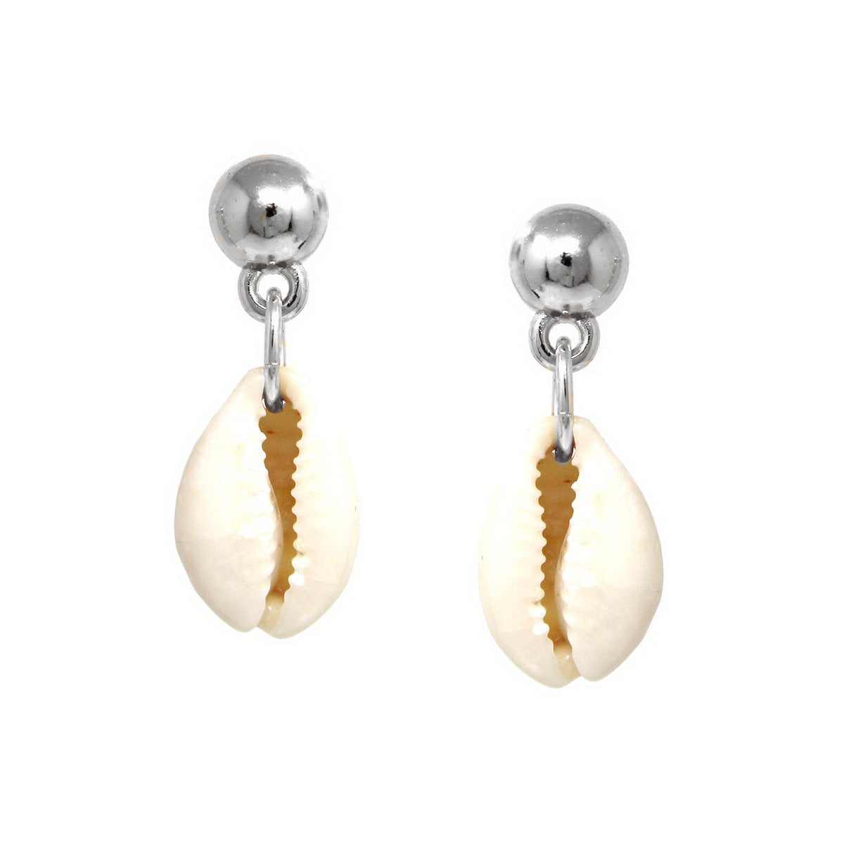Metal Ball With Puka Shell Drop Earrings