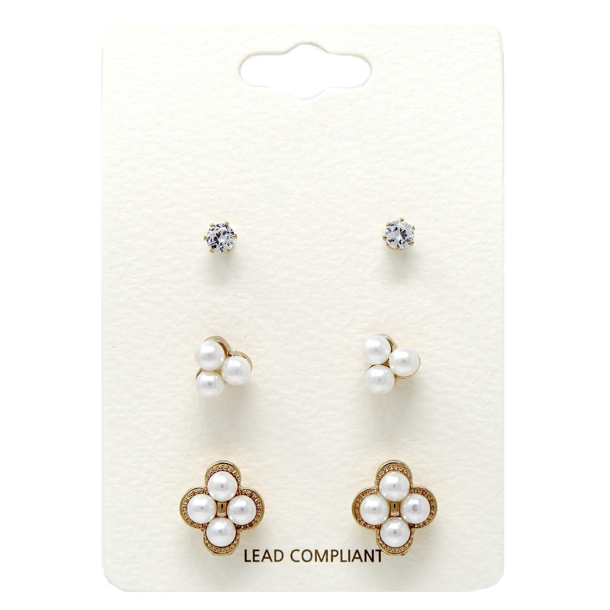 Pearl Embellished Stud Earring Set