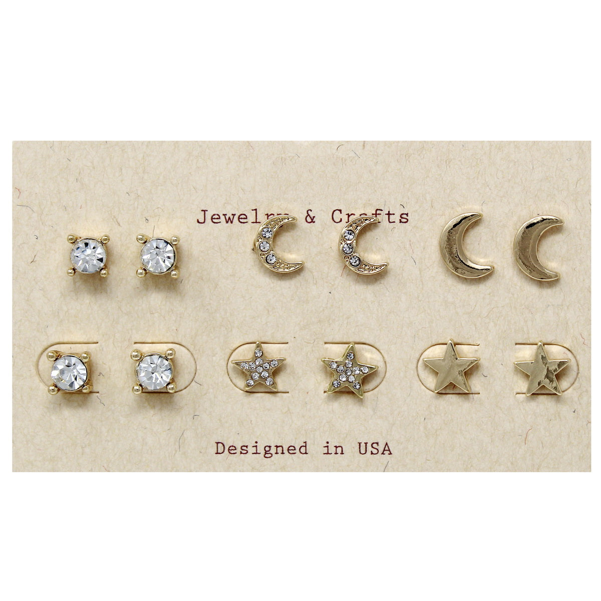 Star And Moon Assorted Stud Earring Set