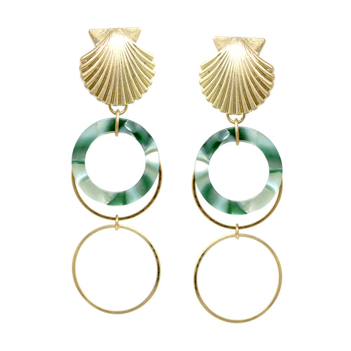 Shell Shape Top With Acetate Hoop Layered Drop Earrings