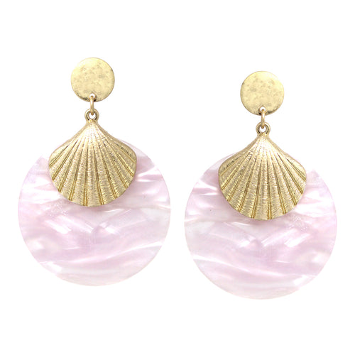 Shell Shape Metal With Acetate Disc Drop Earrings