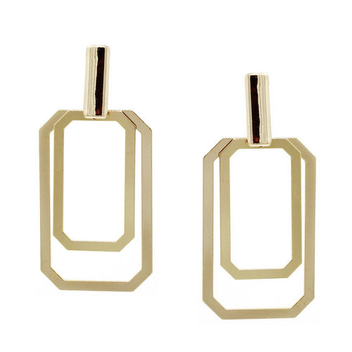 Double Square Shape Hoop Drop Earrings