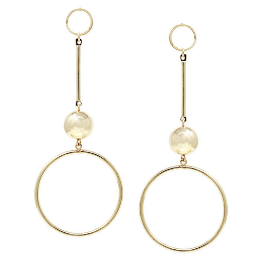 Skinny Hoop With Metal Ball Drop Earrings