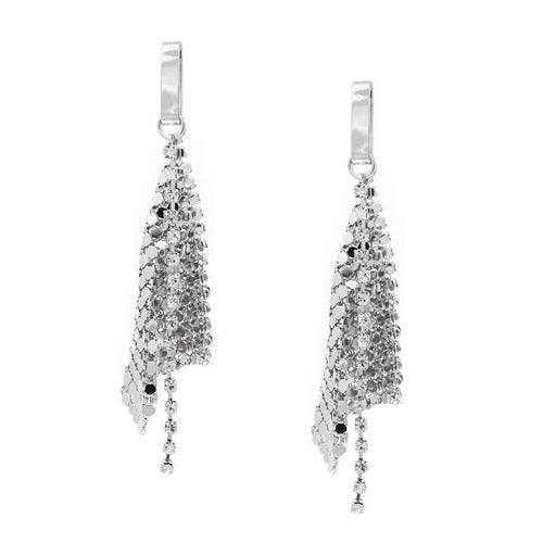 Metal Mesh With Rhinestone Linear Drop Earrings