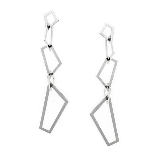 Linked Geometric Hoop Drop Earrings