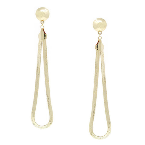Snake Chain Teardrop Long Metal Earrings