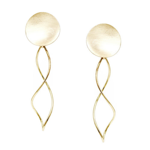 Curved Disc With Twisted Wire Drop Earrings