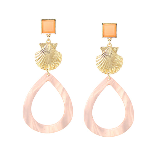 Shell Texture Metal Teardrop Acetate Hoop Drop Earrings