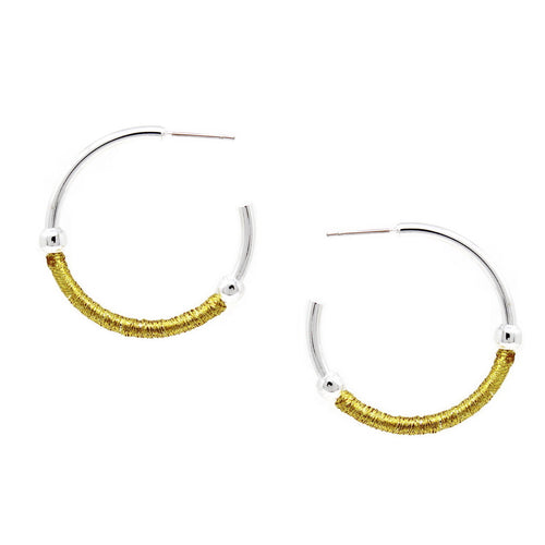 Thread Wrapped Two Tone Hoop Earrings