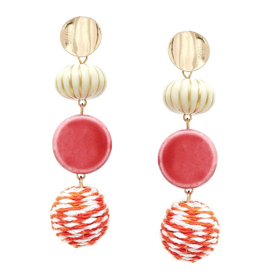 Ceramic Bead And Thread Ball Drop Earrings
