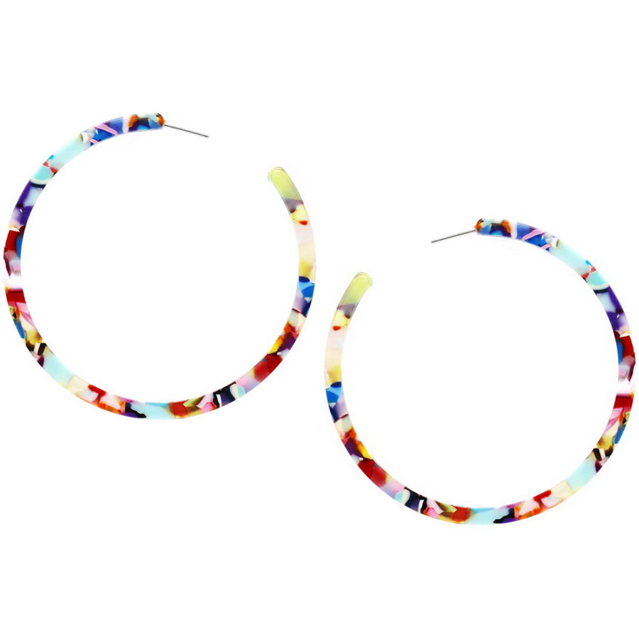 Skinny Acetate Hoop Earrings (70 mm)