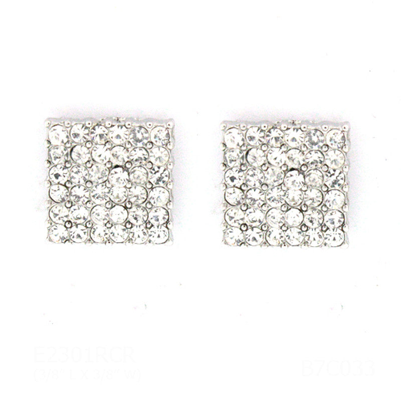 Pave Square Mini Studs Earrings