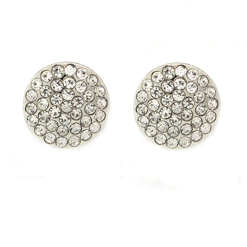 Pave Circle Mini Studs Earrings