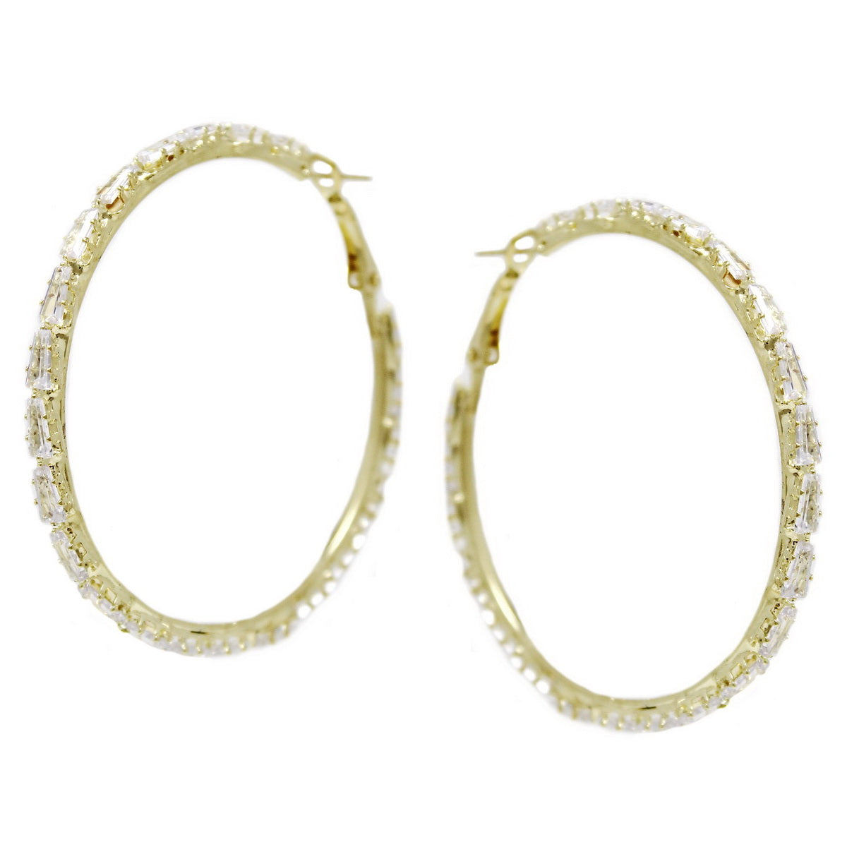 CZ Pave Hoop Earrings (55 mm)