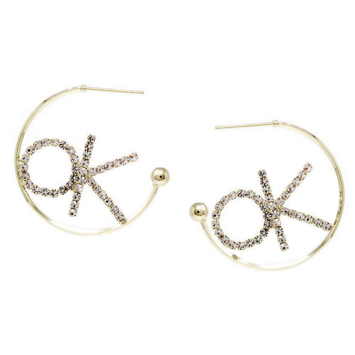 "Glass Stone Pave ""OK"" Hoop Earrings"