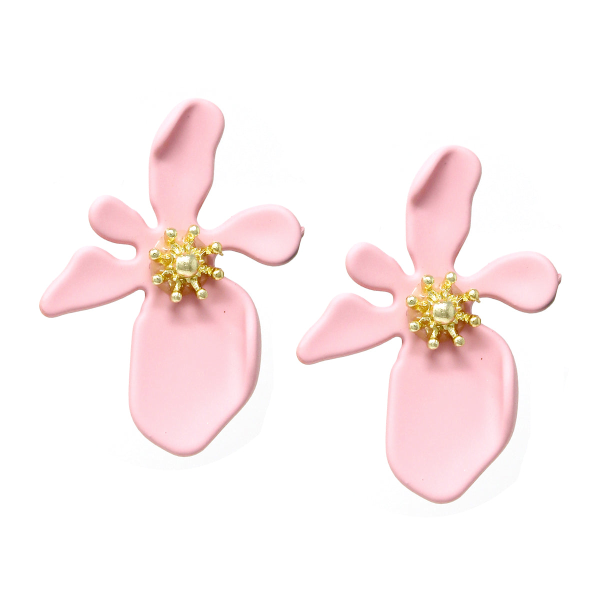 Matte Color Finished Flower Stud Earrings