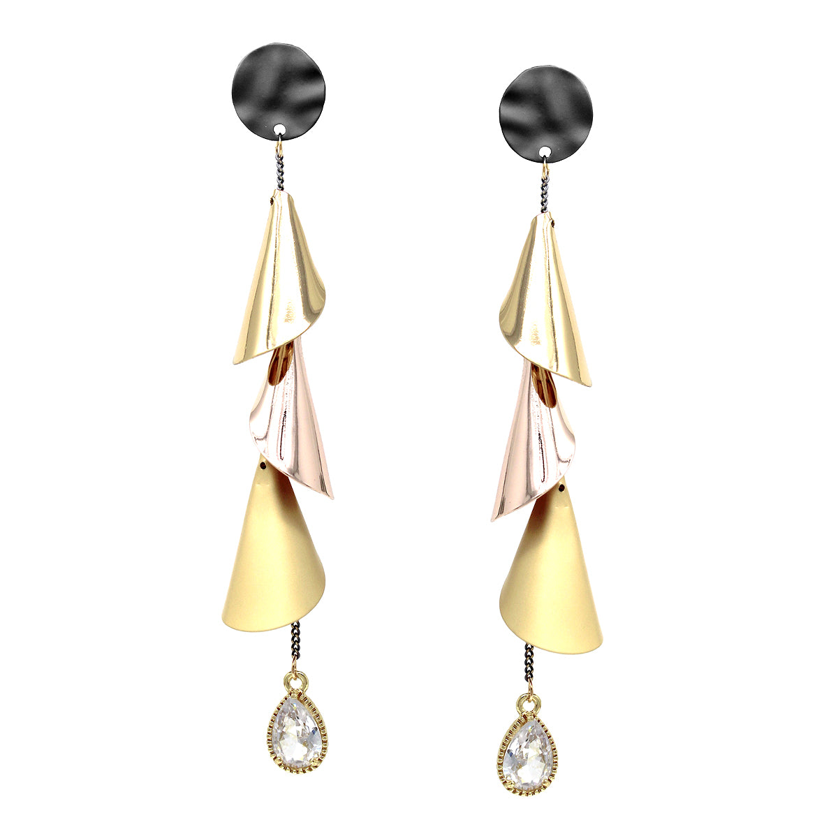Teardrop Glass Metal Petal Fringe Drop Earrings