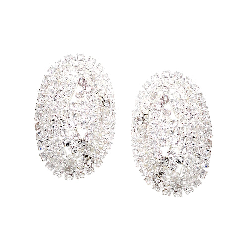 Rhinestone Pave Oval Dome Stud Earrings