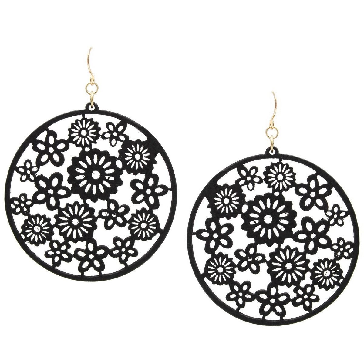 Mini Flower Wood Cutout Disc Drop Earrings