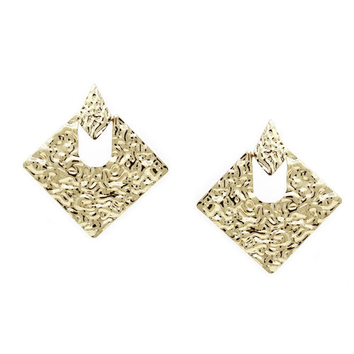 Crumpled Metal Rhombus Shape Drop Earrings