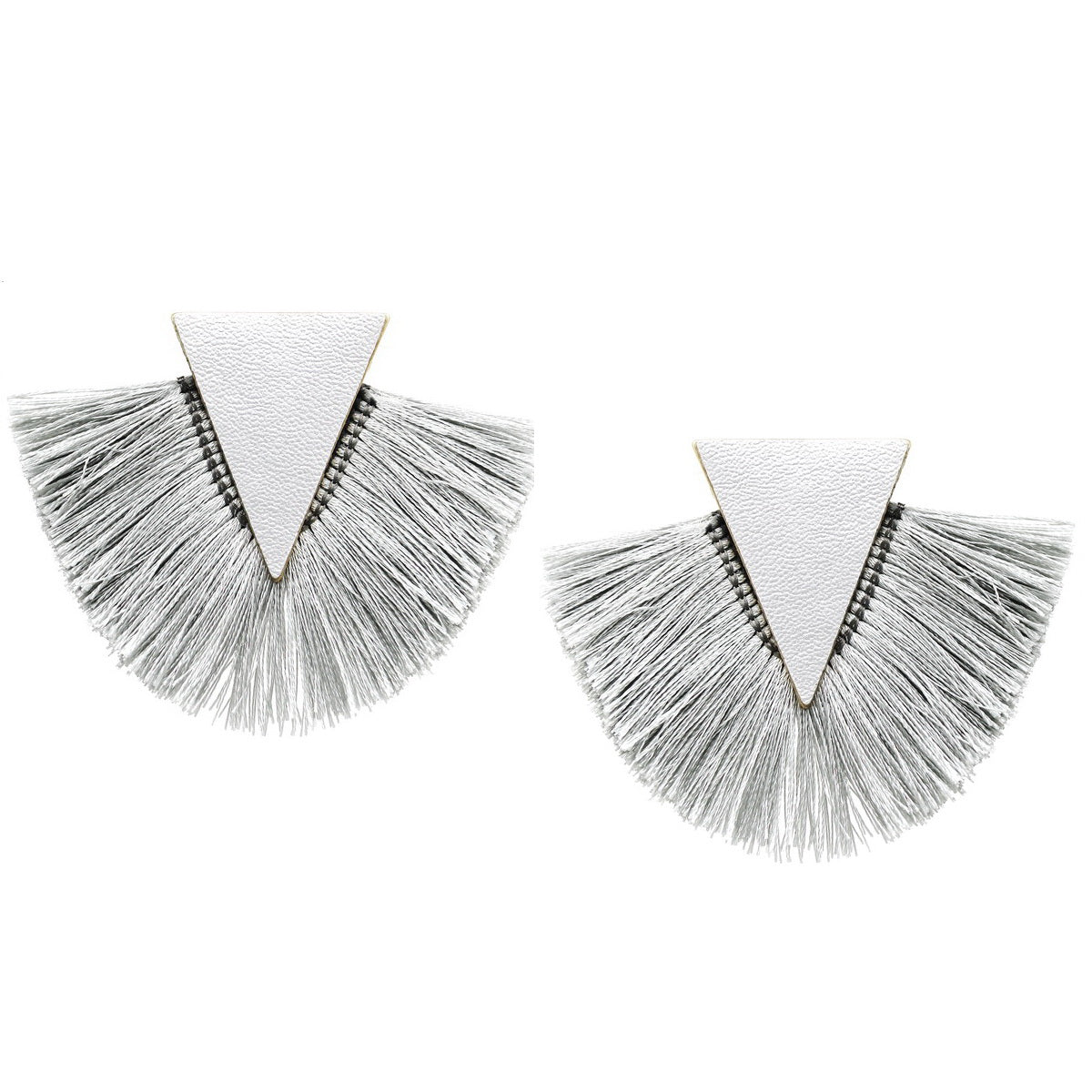 Fringed Leather Triangle Earrings