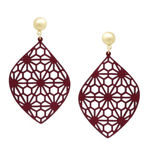 Lightweight Leather Cutout Flower Print Drop Earrings