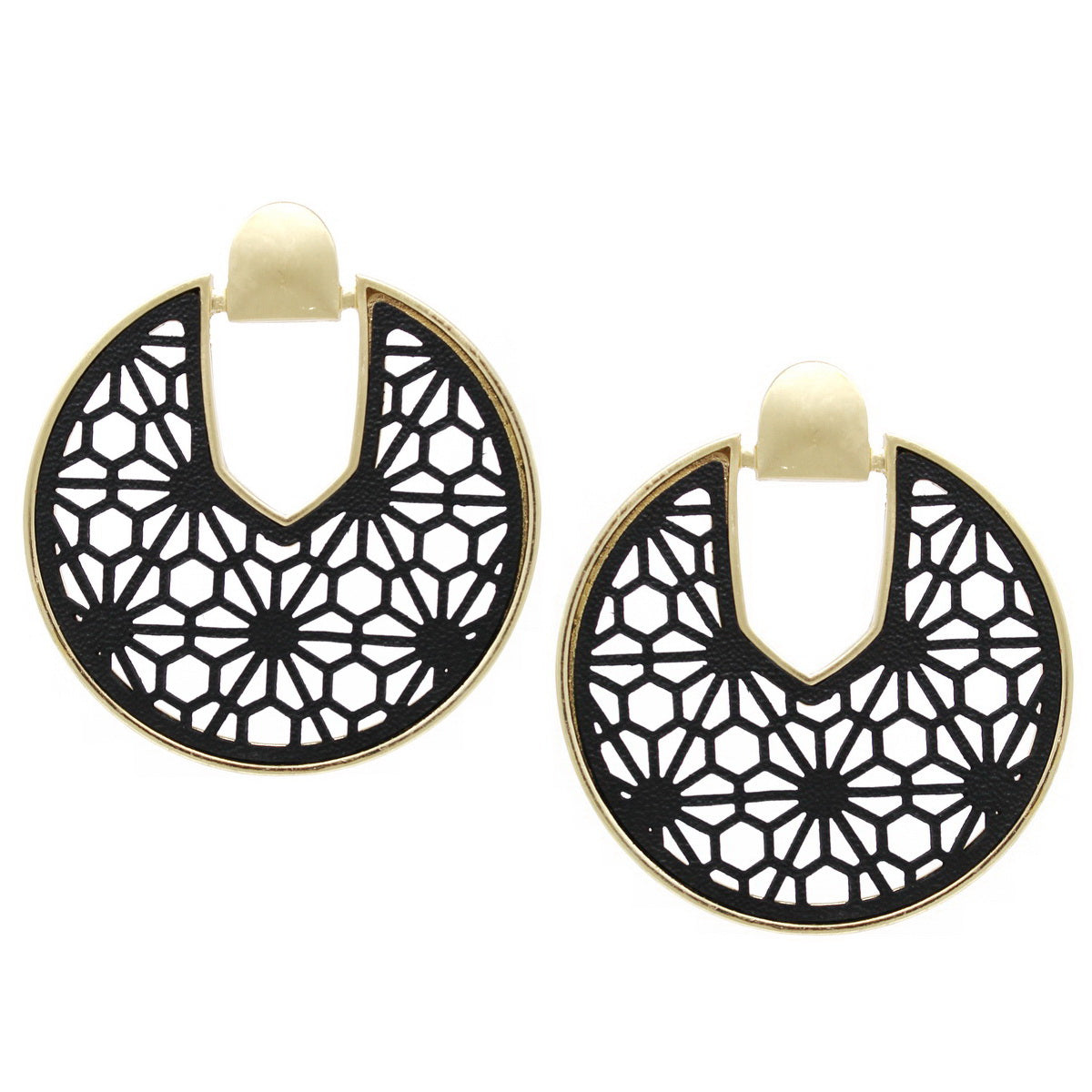 Metal Framed Leather Cutout Round Earrings
