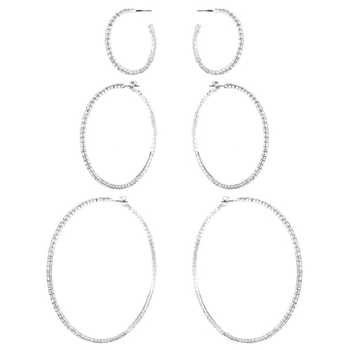 Triple Rhinestone Hoop Earrings Set