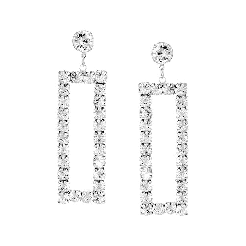 Rhinestone Pave Rectangle Statement Drop Earrings