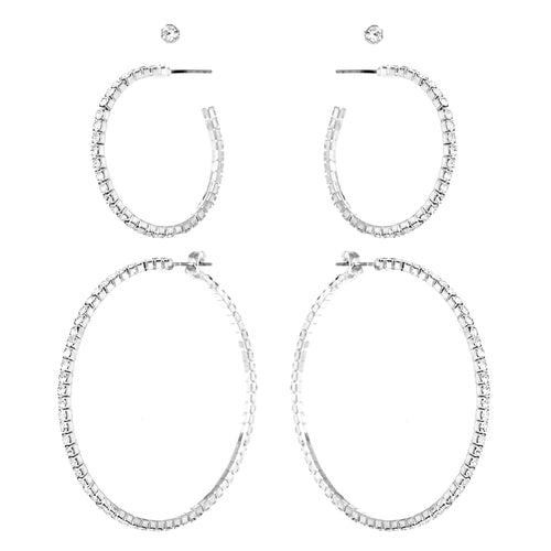 Rhinestone Studs And Hoop Earrings Set