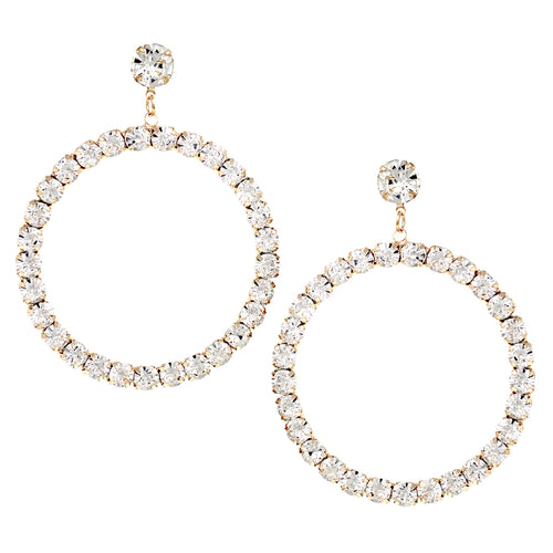 Rhinestone Pave Hoop Drop Earrings
