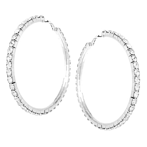 Chunky Rhinestone Pave Hoop Earrings