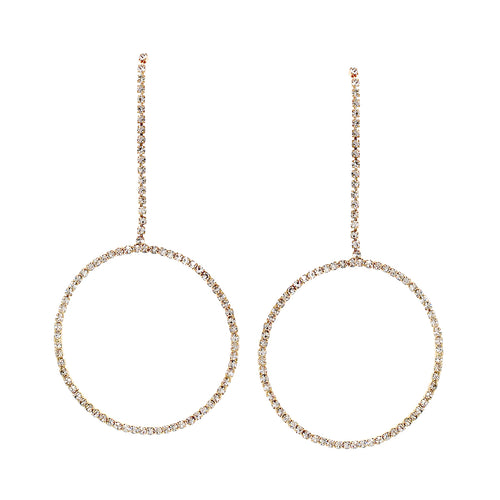 Rhinestone Pave Chain With Hoop Drop Earrings