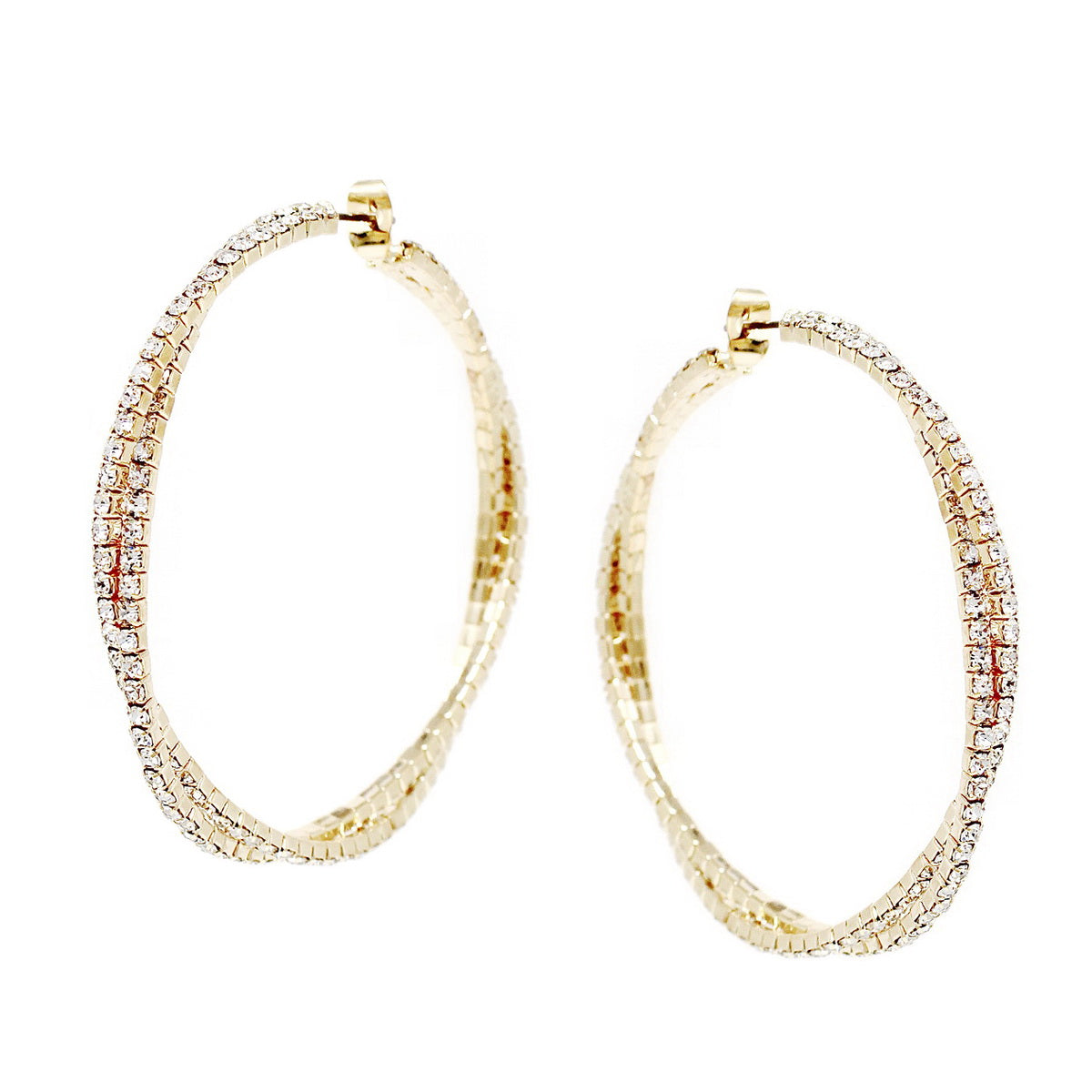 Rhinestone Pave Twisted Hoop Earrings (Medium)