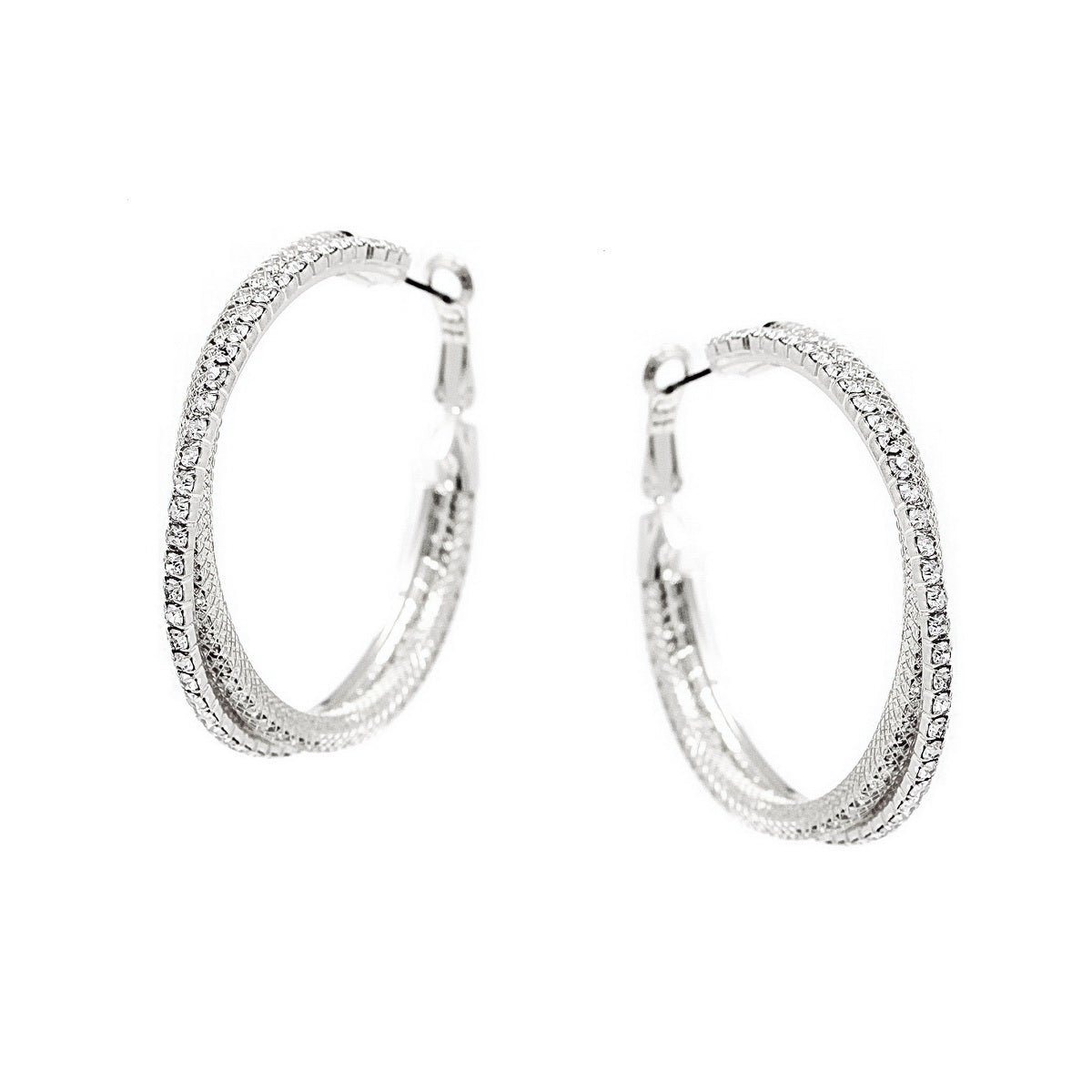 Rhinestone Pave Mesh Twisted Hoop Earrings (Small)