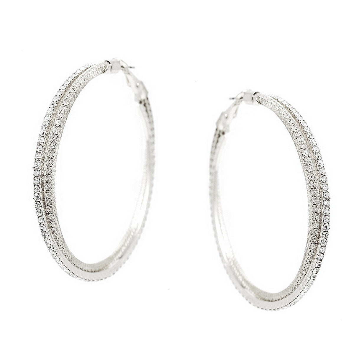 Rhinestone Pave Mesh Twisted Hoop Earrings (Large)