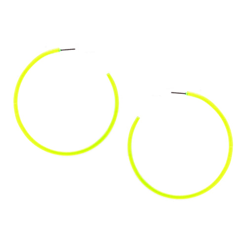 Neon Color Transparent Hoop Earrings (68 mm)