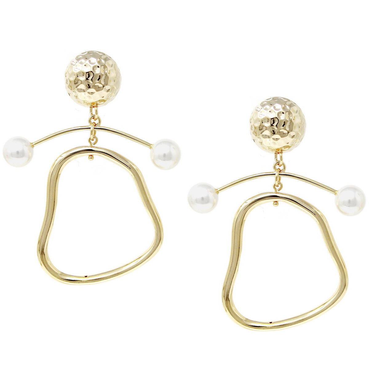 Irregular Hoop With Pearl Bar Drop Earrings