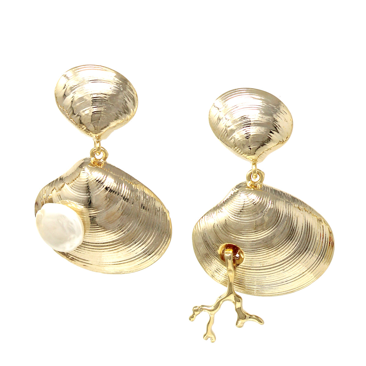 Pearl With Coral Embellished Shell Drop Earrings
