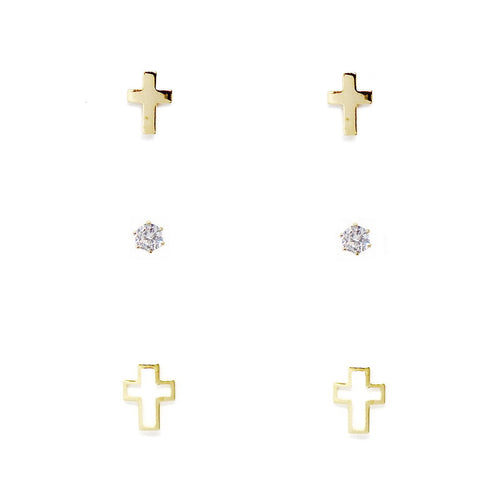 Cross Stud Earring Set