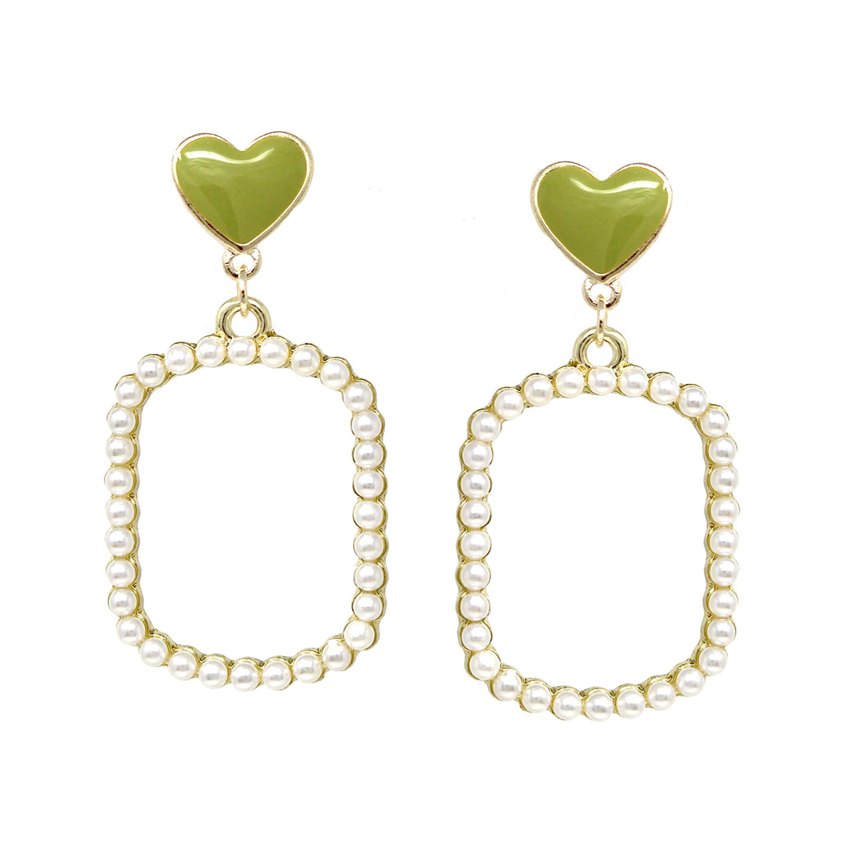 Colored Heart With Pearl Bead Pave Rectangle Hoop Drop Earrings