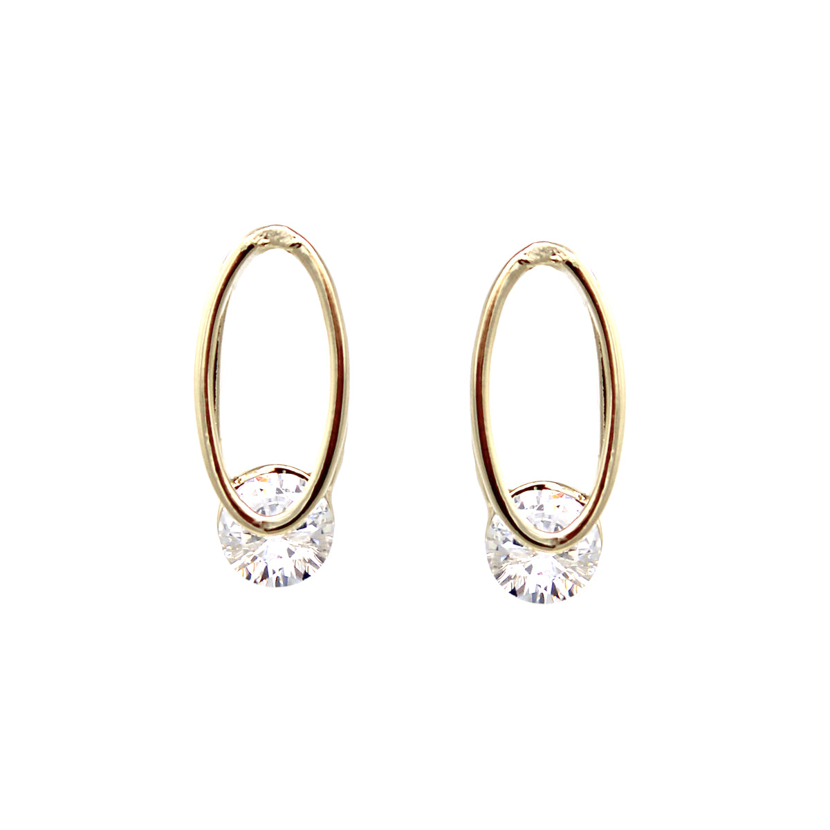 Oval Shape Hoop With Cubic Zirconia Stud Earrings