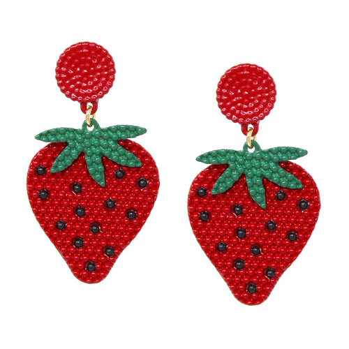Color Coated Metal Strawberry Shape Drop Earrings