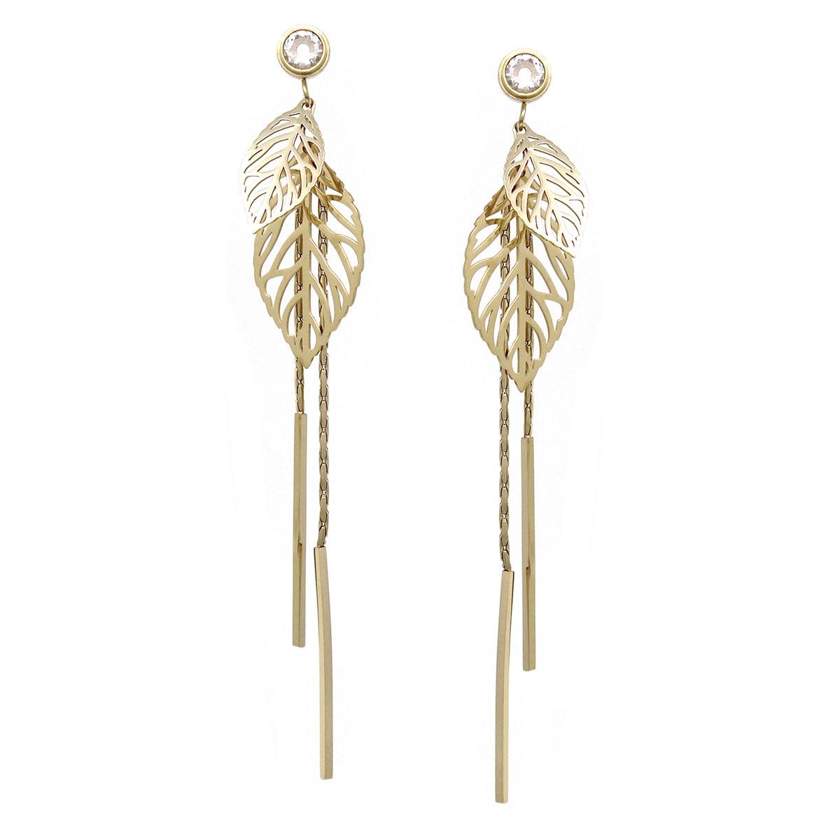 Stainless Steel Laser Cut Leaf With Cubic Zirconia Long Drop Earrings