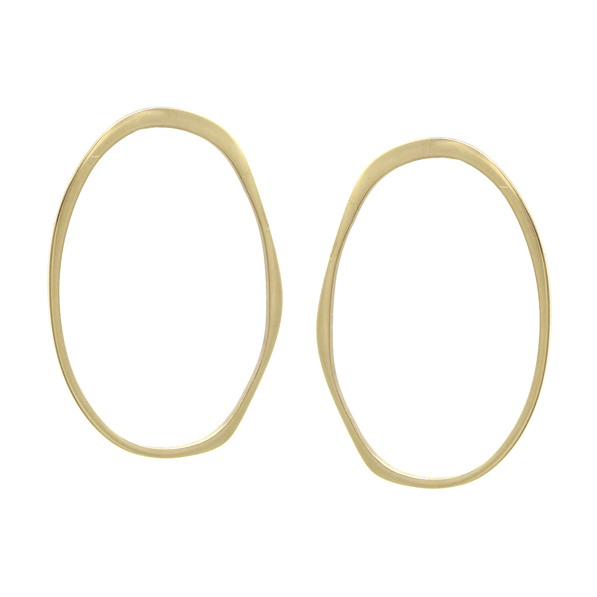 Stainless Steel Oval Shape Hoop Stud Earrings
