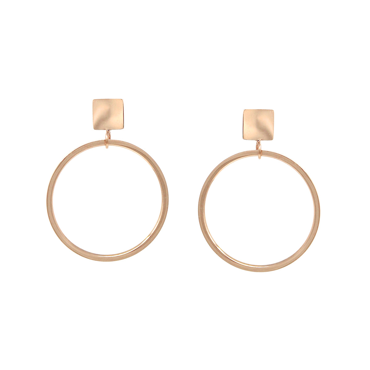 Stainless Steel Mini Square With Hoop Drop Earrings