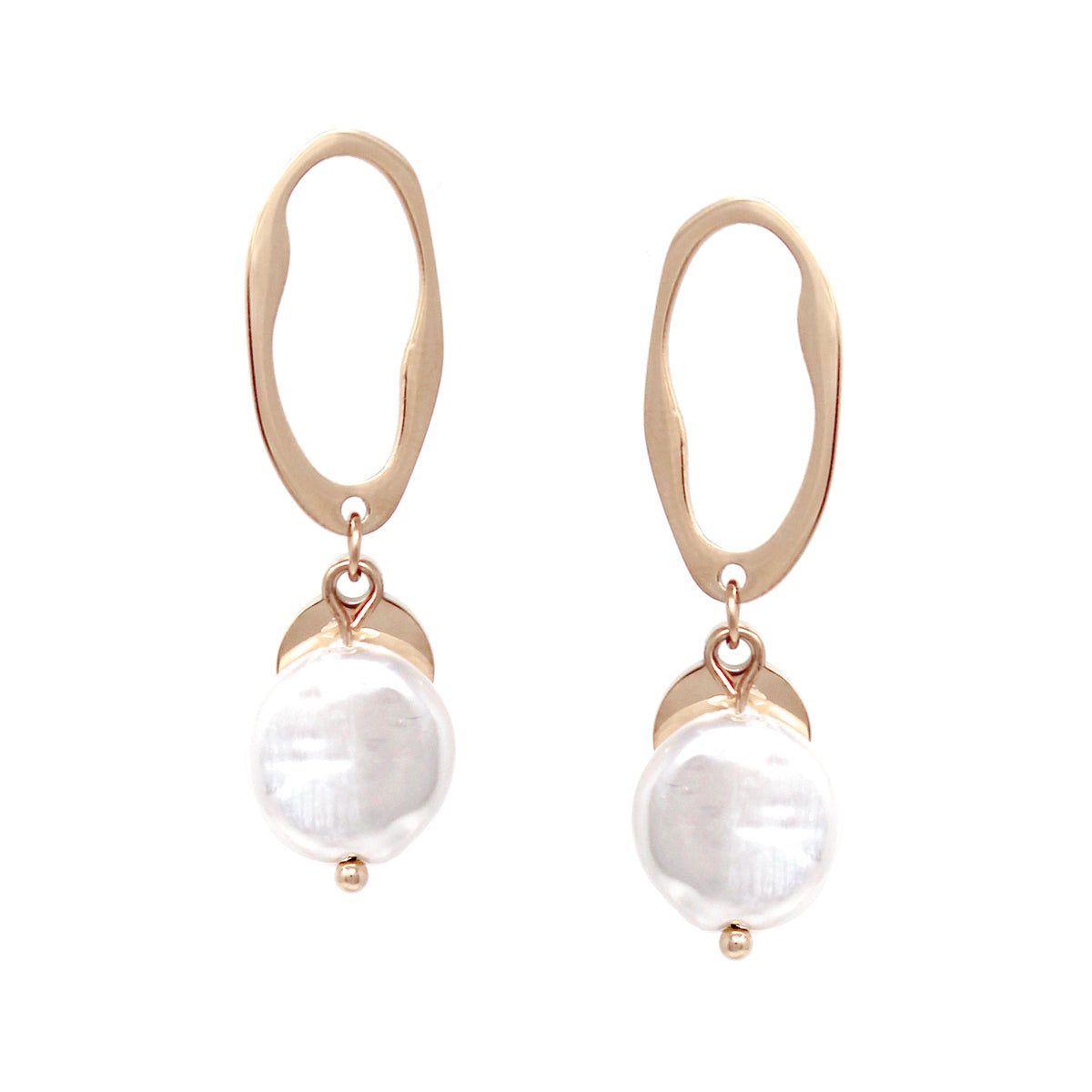 Metal With Pearl Disc Layered Drop Earrings