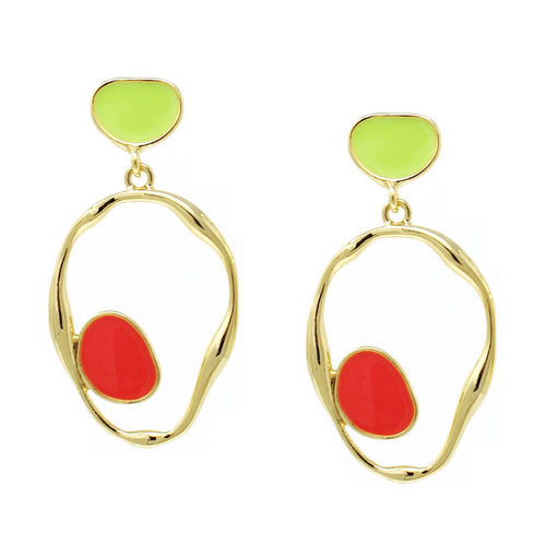 Color Pop Edition: Enamel Plate With Irregular Oval Drop Earrings