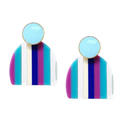 Color Pop Edition: Striped Acetate Drop Earrings